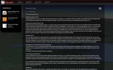 Screenshot of Terms Page oryan.com - Terms of Use | Oryan - captured Sept. 30, 2014