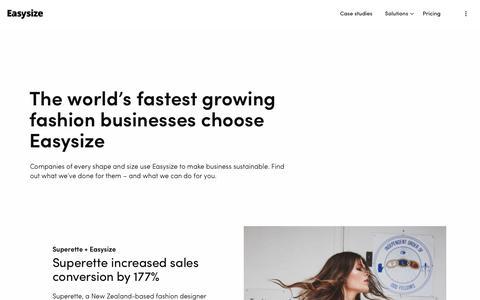 Screenshot of Case Studies Page easysize.me - Customers   Easysize - captured Jan. 21, 2020