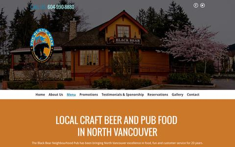 Screenshot of Menu Page blackbearpub.com - Craft beer | North Vancouver, BC | The Black Bear Neighbourhood Pub - captured Feb. 7, 2016