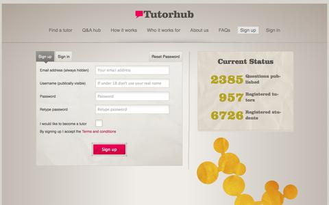 Screenshot of Signup Page tutorhub.com - Sign up or Sign in - Tutorhub - captured Sept. 24, 2014
