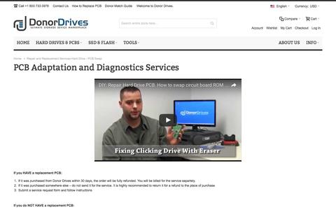 Screenshot of Services Page donordrives.com - Repair and Replacement Services Hard Drive - PCB Swap - captured Nov. 14, 2016