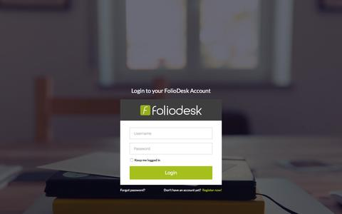 Screenshot of Signup Page Login Page foliodesk.com - FolioDesk - captured Jan. 8, 2016
