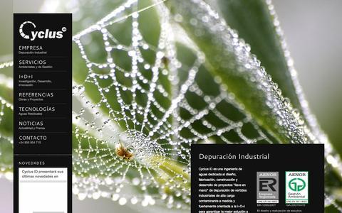 Screenshot of Home Page cyclusid.com - Depuración Industrial - captured Oct. 3, 2014