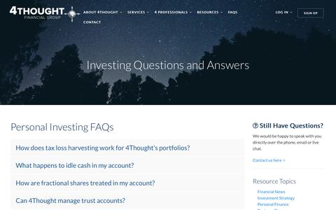Screenshot of FAQ Page 4tfg.com - Investing Questions and Answers by 4Thought Financial Group - captured Dec. 19, 2016