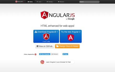 Screenshot of Home Page angularjs.org - AngularJS — Superheroic JavaScript MVW Framework - captured Aug. 19, 2016