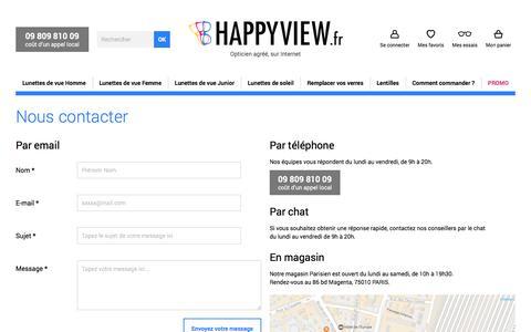 Screenshot of Contact Page happyview.fr - Contactez Happyview par Téléphone, Mail, Tchat ou directement en magasin - captured May 9, 2017