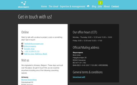 Screenshot of Contact Page skyscrapers.eu - Contact     Skyscrapers - Amazon Web Services Consulting, DevOps  and Managed services - captured March 2, 2016