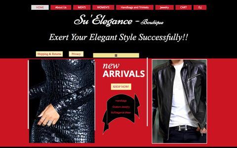 Screenshot of Home Page suelegance.com - Custom Jewelry - captured Oct. 8, 2014