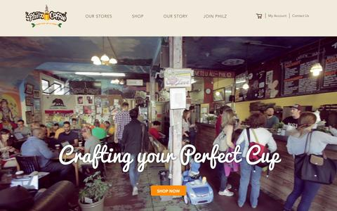 Screenshot of Home Page philzcoffee.com - Philz Coffee - captured Jan. 26, 2016