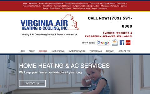 Screenshot of Services Page virginiaairheatingandcooling.com - Heat & AC Service | Gainesville, VA  | VA Air Heating & Cooling, Inc - captured July 11, 2018