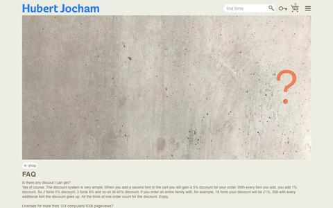 Screenshot of FAQ Page hubertjocham.de - Hubert Jocham Type - captured Sept. 29, 2018