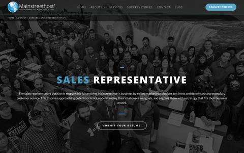 Screenshot of Jobs Page mainstreethost.com - Sales Representative in Buffalo, NY & Las Vegas, NV | Career Opportunities at Mainstreethost - captured Oct. 28, 2017