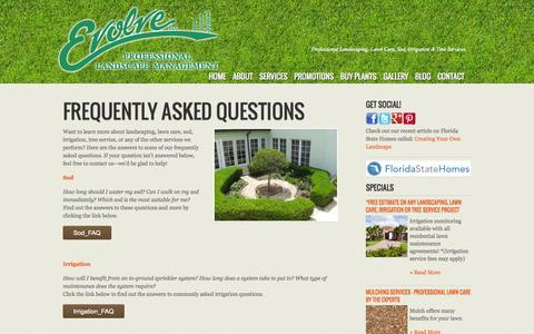 Screenshot of FAQ Page evolveyourlawn.com - Landscaping FAQ's | Landscaping & Lawn Care Services in Bartow, Winter Haven, Lakeland, Mulberry & Fort Meade - captured Oct. 3, 2014