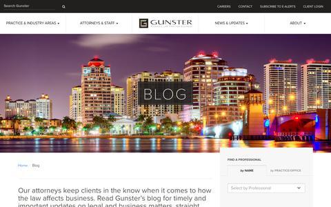 Screenshot of Blog gunster.com - Business Law Blog - Gunster - captured July 20, 2016