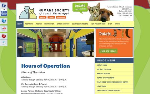 Screenshot of Hours Page hssm.org - Hours of Operation | Humane Society of South Mississippi - captured Nov. 12, 2016