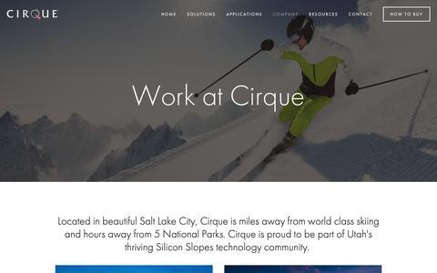Screenshot of Jobs Page cirque.com - Careers — Cirque Corporation - captured Sept. 28, 2018