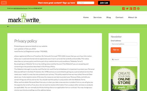 Screenshot of Privacy Page markitwrite.com - Privacy policy - markITwrite - captured Oct. 31, 2014