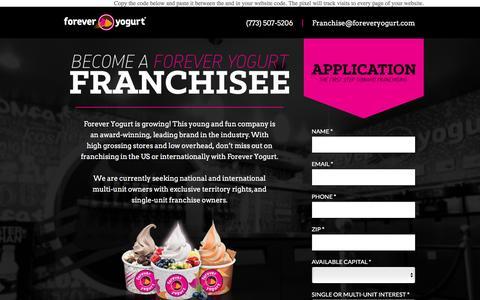 Screenshot of Landing Page foreveryogurt.com captured Oct. 4, 2016
