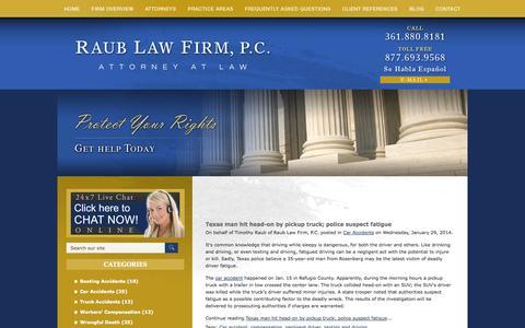 Screenshot of Blog raublawfirm.com - Corpus Christi Personal Injury Law Blog | Raub Law Firm, P.C. - captured Oct. 7, 2014