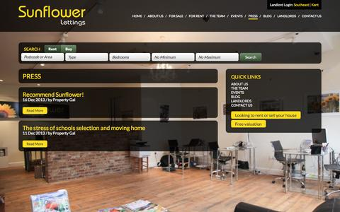 Screenshot of Press Page sunflowerlettings.co.uk - » Press | Sunflower Lettings - captured Sept. 26, 2014