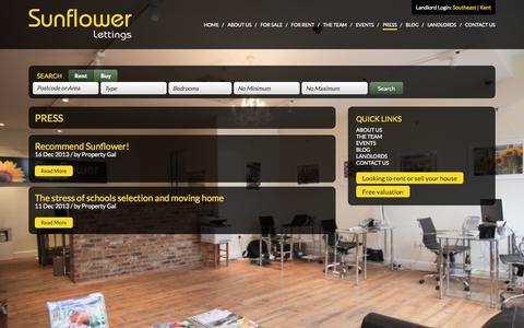 Screenshot of Press Page sunflowerlettings.co.uk - » Press | Sunflower Lettings - captured Sept. 26, 2014