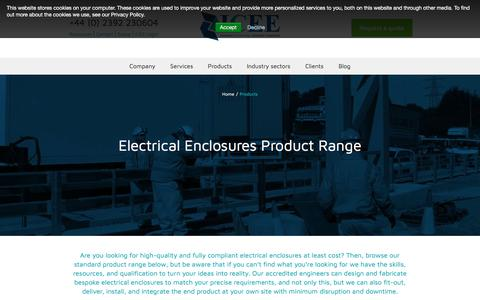 Screenshot of Products Page icee.co.uk - Electrical enclosures – Custom & Standard Sizes - Least Cost - captured Sept. 29, 2017