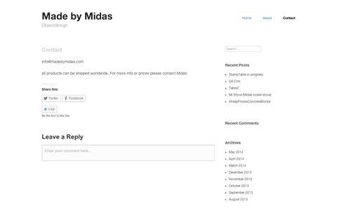 Screenshot of Contact Page wordpress.com - Contact   Made by Midas - captured Sept. 12, 2014