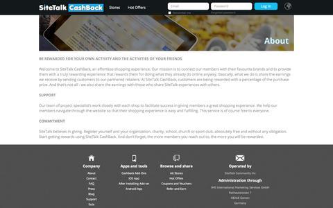 Screenshot of About Page sitetalkcashback.com - SiteTalkCashBack Official Site - Global #1 CashBack Shopping Place. - captured July 17, 2017