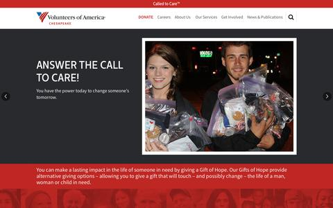 Screenshot of Home Page voachesapeake.org - Homepage | Volunteers of America - captured Feb. 15, 2016