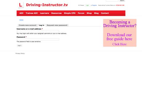 Screenshot of Login Page driving-instructor.tv - User account | Driving-Instructor.tv - captured Nov. 20, 2016