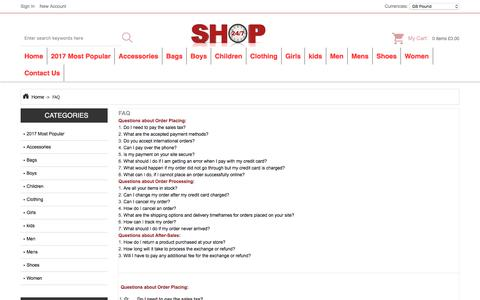 Screenshot of FAQ Page allparnone.co.uk - FAQ : Store Clothes, Clearance Flat Shoes, Online Mules / Clogs - captured Oct. 10, 2017