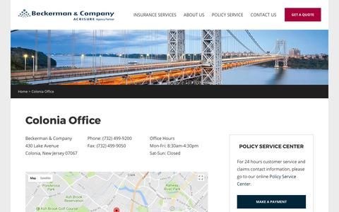 Screenshot of Contact Page beckermanco.com - Colonia Office | Beckerman & Company - captured Oct. 10, 2017