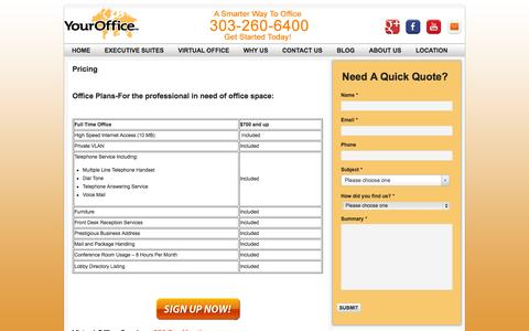 Screenshot of Pricing Page yourofficedenver.com - Executive Suites | Virtual Offices | Denver Pricing | YourOffice Denver - captured Sept. 26, 2014