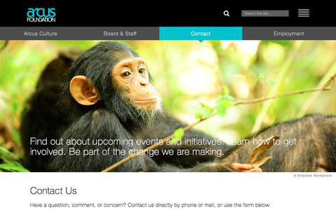 Screenshot of Contact Page arcusfoundation.org - Contact | Arcus Foundation - captured July 30, 2018