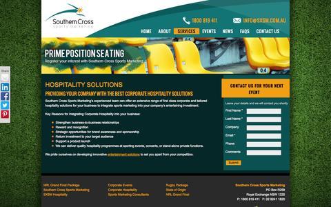 Screenshot of Services Page sxsm.com.au - Corporate Box and Hospitality - SXSM (Southern Cross Sports Marketing) - captured Nov. 5, 2014