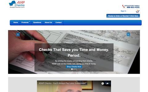 Screenshot of Home Page asapchecks.com - ASAP Checks-Huge Savings On Business, Computer & Personal Check Orders - captured Oct. 7, 2017
