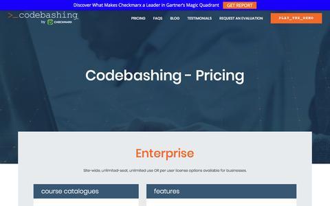 Screenshot of Pricing Page codebashing.com - Pricing | Codebashing - captured July 10, 2018