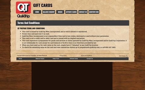 Screenshot of Terms Page quiktrip.com - QT Prepaid Card - captured Dec. 8, 2018