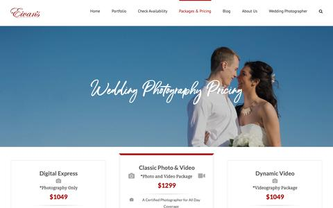 Screenshot of Pricing Page eivans.com - Wedding Photography Packages | Eivan's Photo Inc. - captured Sept. 27, 2018