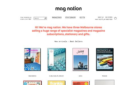 Screenshot of Home Page magnation.com - mag nation | Magazines, Gifts and Stationery | Melbourne magazine shop - captured June 10, 2017