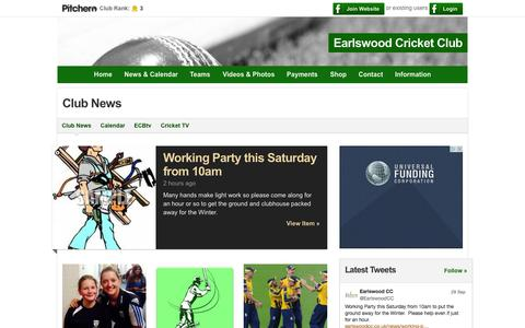 Screenshot of Press Page earlswoodcc.co.uk - Club News - Earlswood Cricket Club - captured Oct. 1, 2014
