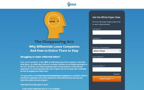 Screenshot of Landing Page grovo.com - The Disappearing Act: Why Millennials Leave Companies - captured Oct. 20, 2016