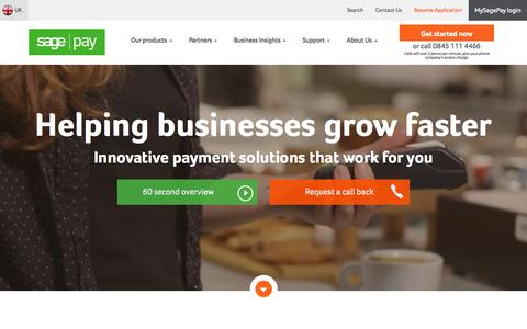 Screenshot of Home Page sagepay.co.uk - Simple, Flexible & Secure Payment Services with Sage Pay - captured July 16, 2015