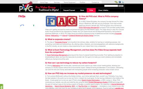 Screenshot of FAQ Page provideogroup.com - Frequently Asked Question Video Production : Webcasting : Website Design : Online Marketing : Brochure Design - captured Sept. 30, 2014