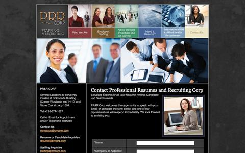 Screenshot of Contact Page prrcorp.com - PRR Corp, Staffing Agency, Employment Direct Hire, Resume Services - captured May 13, 2017