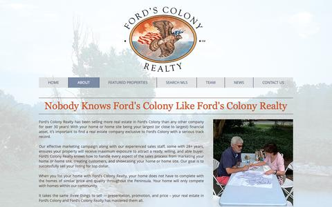 Screenshot of About Page fordscolony.com - About | Williamsburg, VA | Ford's Colony Realty - captured Oct. 10, 2018