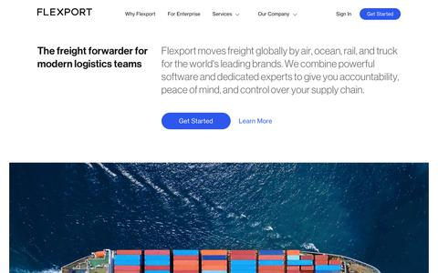 Screenshot of Home Page flexport.com - Flexport - Freight Forwarder and Customs Broker - captured Feb. 13, 2018