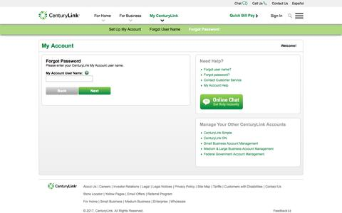 CenturyLink - Forgot Password