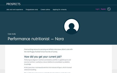 Screenshot of Case Studies Page prospects.ac.uk - Performance nutritionist: Nora | Prospects.ac.uk - captured Dec. 5, 2016