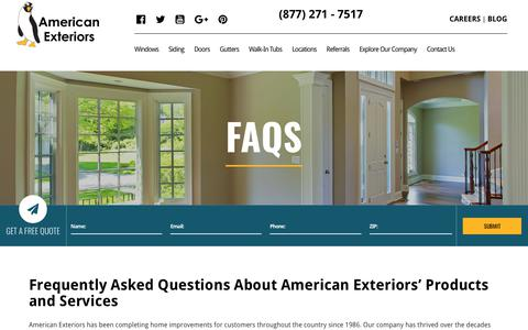 Screenshot of FAQ Page amext.com - Frequently Asked Questions | American Exteriors - captured Oct. 3, 2018
